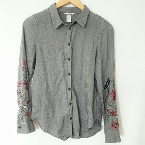 H&M Embroidered Sleeves Button Down Blouse